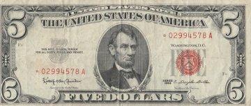 1963 $5.00 U.S. Note - Red Seal - Star Note - Fine / Very Fine