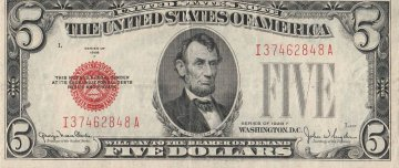 1928 $5.00 U.S. Note - Red Seal - Extremely Fine