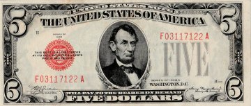 1928 $5.00 U.S. Note - Red Seal - About Uncirculated
