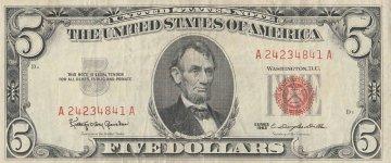 1963 $5.00 U.S. Note - Red Seal - Fine / Very Fine