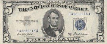 1953 $5.00 U.S. Silver Certificate Note - Blue Seal - Crisp Uncirculated