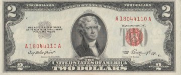 1953 $2.00 U.S. Note - Red Seal - About Uncirculated