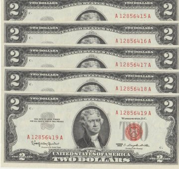 Pack of 5 Consecutive 1963 $2.00 U.S. Notes - Red Seal - Crisp Uncirculated