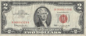 1963 $2.00 U.S. Note - Red Seal - Fine / Very Fine