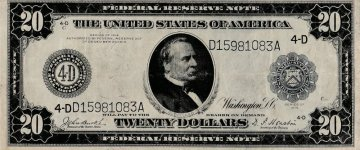 1914 $20.00 Federal Reserve Note - Large Type - Choice Very Fine - Fr. 978