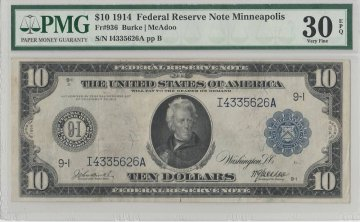 1914 $10.00 Federal Reserve Note - Large Type - PMG VF-30 EPQ Fr.936 - Minneapolis