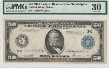 1914 $50.00 Federal Reserve Note - Large Type - PMG VF-30 Fr. 1035 - Philadelphia