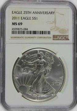 2011 1 oz American Silver Eagle Coin - NGC MS-69