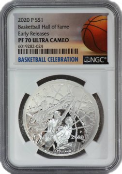 2020-W Basketball Hall of Fame Proof Silver Coin $1 NGC PF-70 Early Release - NOW SHIPPING!