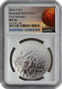 2020-W Basketball Hall of Fame Silver Coin $1 NGC MS-70 Early Release - NOW SHIPPING!