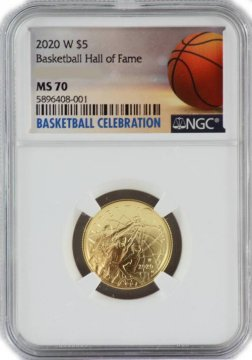 2020-W Basketball Hall of Fame Gold Coin $5 NGC MS-70 - NOW SHIPPING!