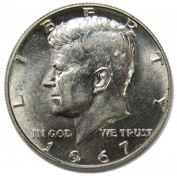 1965-1969 40% Silver Kennedy Half Dollar Coin - $.50 Face Value - Avg. Circ