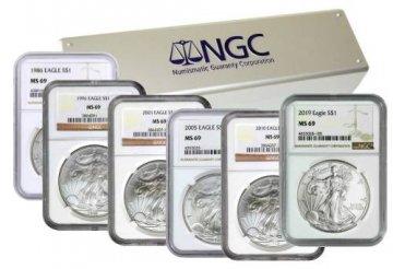 1986-2019 34-Coin 1 oz American Silver Eagle Set - NGC MS-69