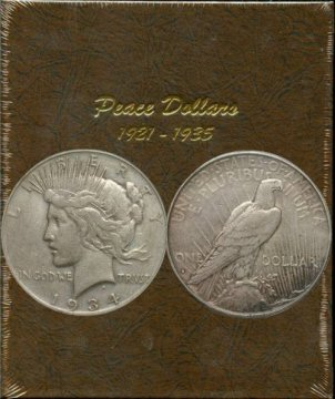 1921-1935 24-Coin Complete Set of Peace Silver Dollars - VG/XF
