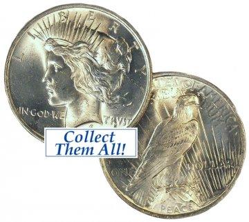 1922-1935 Peace Silver Dollar Coins - Random Date - BU