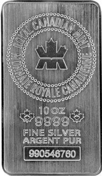 Royal Canadian Mint (RCM) 10 oz .9999 fine Silver Bar - New Style!