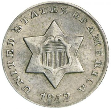 1851-1853 Three Cent Silver Piece Coin - About Uncirculated