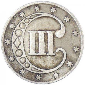 1851-1853 Three Cent Silver Piece Coin - Fine