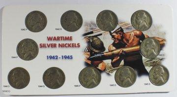 1942-45 11-Coin War Nickel Set - 35% Silver - VG-XF