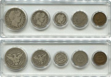Five Coin Barber Type Set