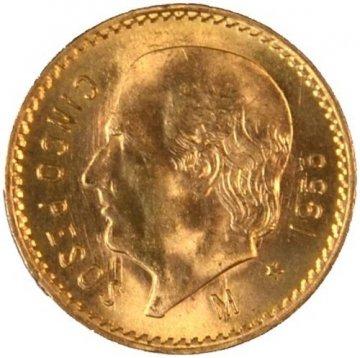 Mexican 5 Pesos Gold Coin - Random Date - BU