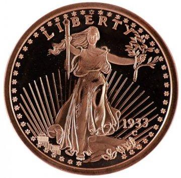 1 oz Copper Round - 1933 St. Gaudens Design