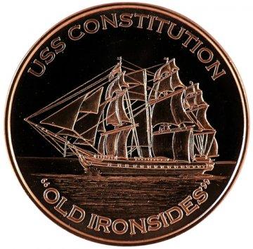 "1 oz Copper Round - U.S.S. Constitution ""Old Ironsides"" Design"