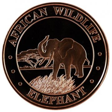 1 oz Copper Round - African Wildlife Series - Elephant Design