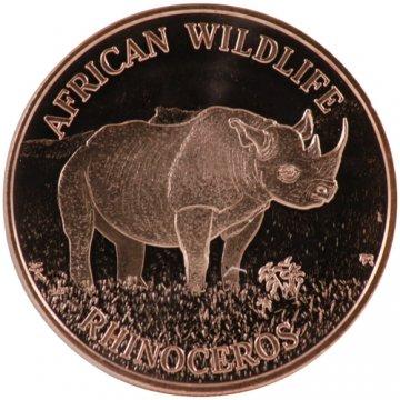 1 oz Rhinoceros Copper Round from African Wildlife Series