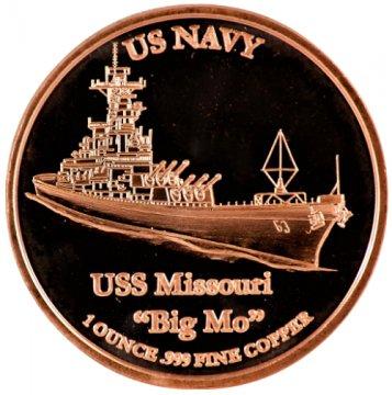 "1 oz Copper Round - U.S. Navy USS Missouri ""Big Mo"" Design"