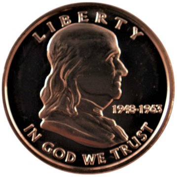 1 oz Copper Round - Franklin Half Dollar Design