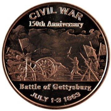 1 oz Copper Round - Civil War Series - Battle of Gettysburg Design