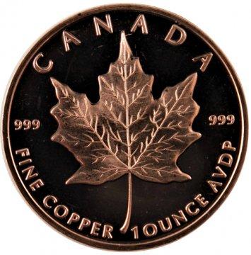 1 oz Copper Round - Canadian Maple Leaf Design