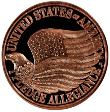 1 oz Copper Round - Pledge of Allegiance Design