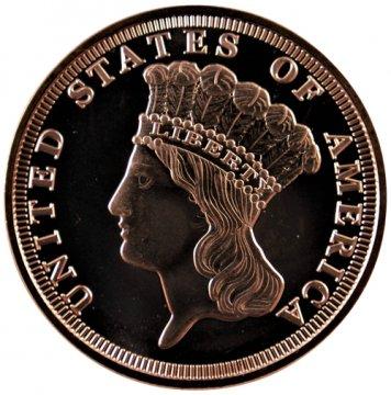 1 oz Copper Round - 3.00 Gold Piece Design