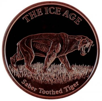 1 oz Copper Round - Ice Age Series - Saber Toothed Tiger Design