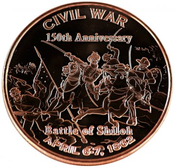 1 oz Copper Round - Civil War Series - Battle of Shiloh Design