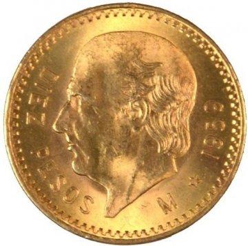 Mexican 10 Pesos Gold Coin - Random Date - BU