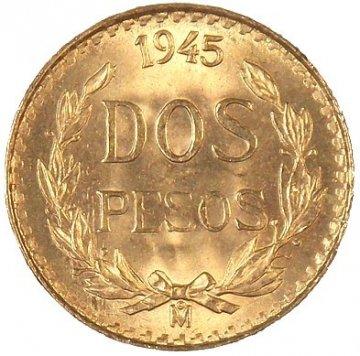 Mexican 2 Pesos Gold Coin - Random Date - BU