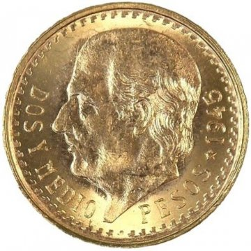 Mexican 2.50 Pesos Gold Coin - Random Date - BU