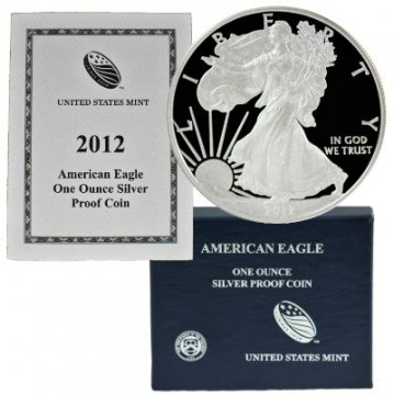 2012-W 1 oz American Proof Silver Eagle Coin - Gem Proof