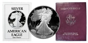 1990-S 1 oz American Proof Silver Eagle Coin - Gem Proof