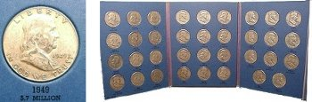 1948-1963 35-Coin Complete Set of Franklin Silver Half Dollars - Avg. Circ.