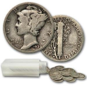 Mercury Dime Roll - Circulated Condition