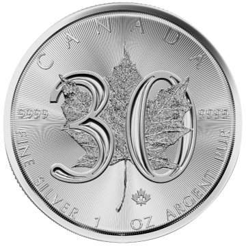 2018 1 oz Canadian Silver Maple Leaf Coin - 30th Anniversary - Gem BU
