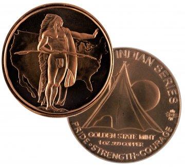 1 oz Copper Round - Indian Series - Oregon Trail Design