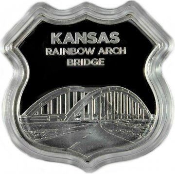 1 oz Silver - Icons of Route 66 Shield Series - Kansas Rainbow Arch Bridge