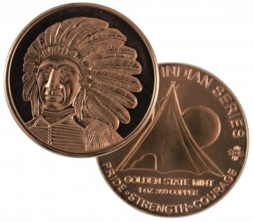 1 oz Copper Round - Indian Series - Chief Red Cloud Design