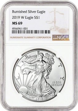 2019-W 1 oz Burnished American Silver Eagle Coin - NGC MS-69
