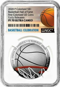 2020-P Basketball Hall of Fame Colorized Proof Silver Coin $1 NGC PF-70 Early Release - First Colorized U.S. Coin!